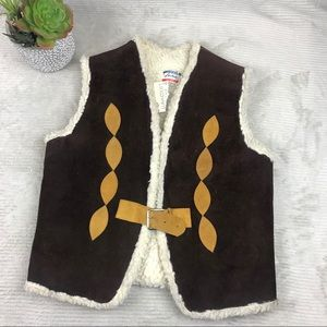 Vintage 70s Leather Suede Sherpa Vest